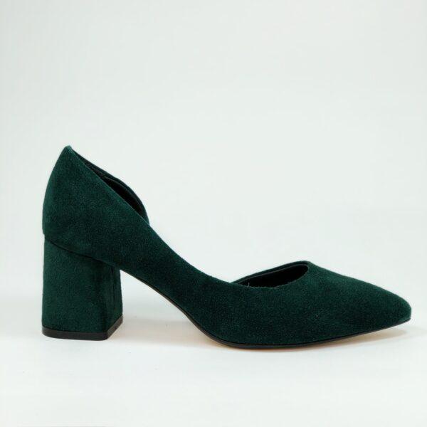 Тувли женские замшевые зеленые на устойчивом обтяжном каблуке