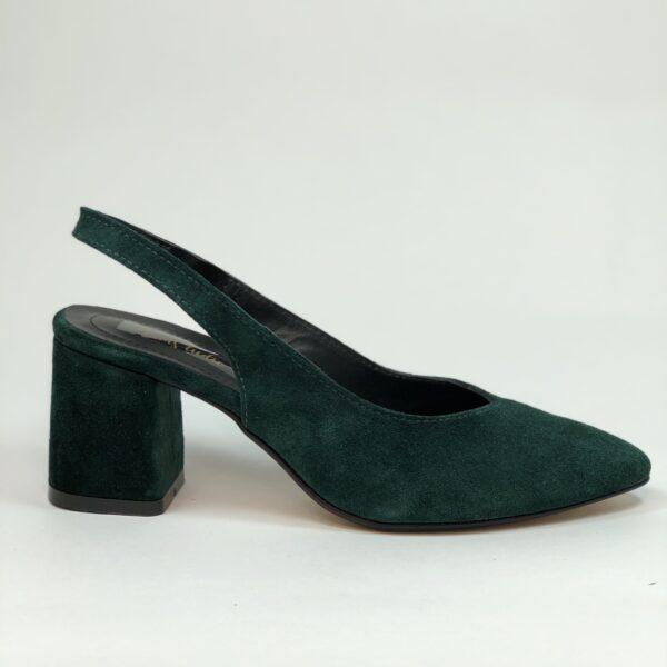 Босоножки женские замшевые зеленые на устойчивом обтяжном каблуке