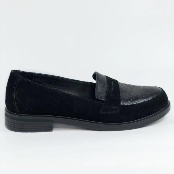 Туфли женские замшевые вставки из питона цвет черный