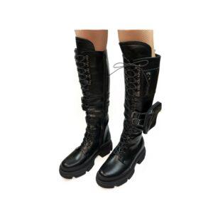 Сапоги женские кожаные черные со шнуровкой на стильной подошве