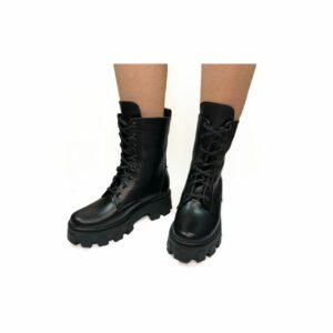 Ботинки женские кожаные черные на комфортной танкетке