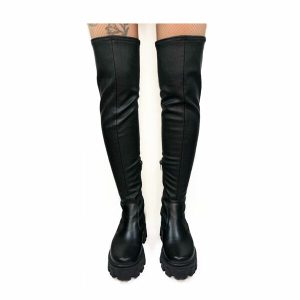 Ботфорты женские кожаные черные с эластичным голенищем