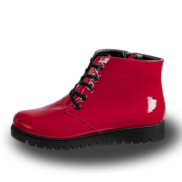 Женские красные лаковые ботинки на утолщенной подошве