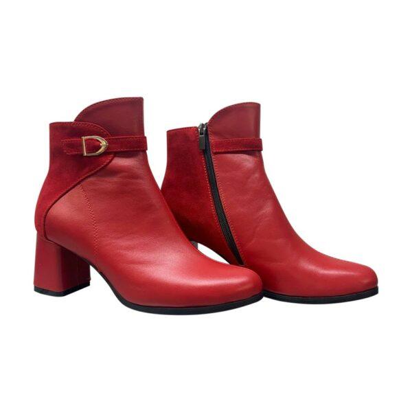 Красные женские ботинки из натуральной кожи и замши на устойчивом обтяжном каблуке
