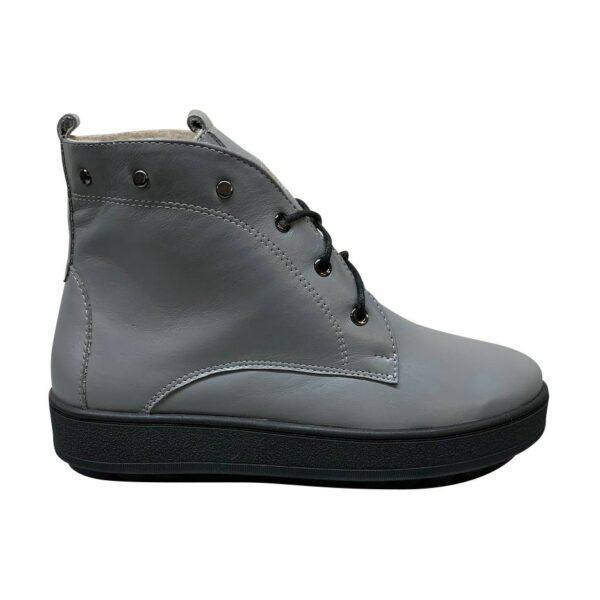 Женские ботинки кожаные серые на низком ходу
