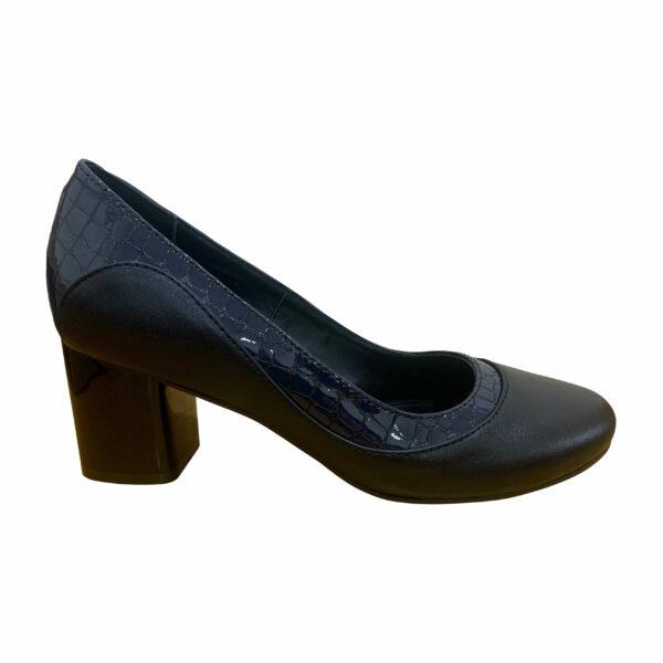 Женские туфли из натуральной черной кожи и синего крокодила на устойчивом каблуке