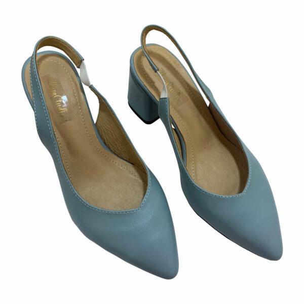 Босоножки женские голубые кожаные на устойчивом каблуке