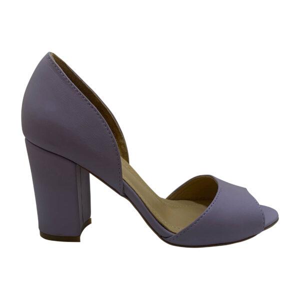 Босоножки женские голубые из натуральной кожи на высоком устойчивом каблуке