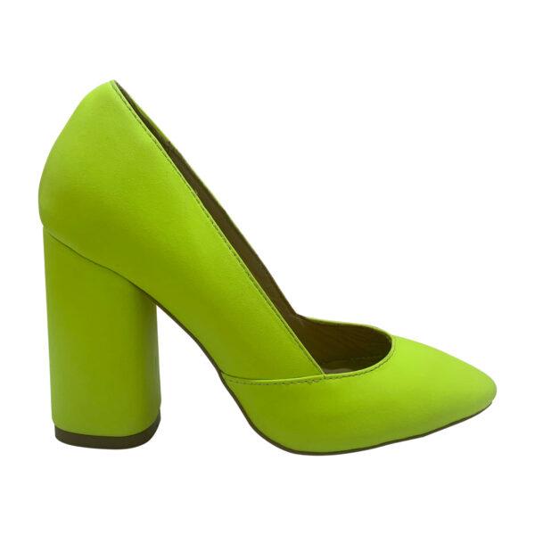 Туфли женские желтые кожаные на высоком устойчивом каблуке