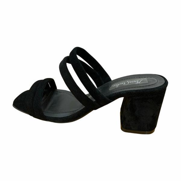 Женские шлепанцы на устойчивом каблуке из натуральной замши черного цвета