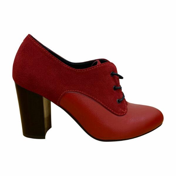 Красные женские туфли из натуральной кожи и замши на высоком устойчивом каблуке