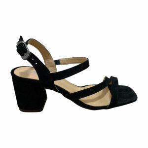 Босоножки женские черные замшевые на устойчивом каблуке с плоским носком