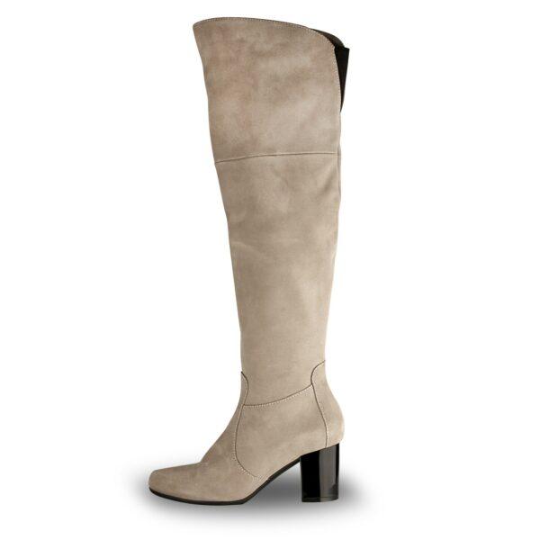 Ботфорты женские замшевые цвет пудра на устойчивом каблуке