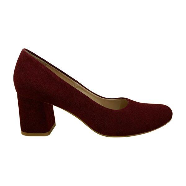 Женские туфли лодочки бордовые замшевые