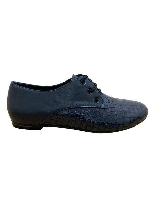 Женские туфли кожаные синие на мини каблуке