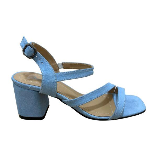 Босоножки женские голубые замшевые на устойчивом каблуке