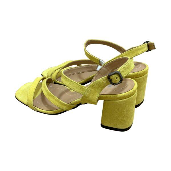 Босоножки женские желтые замшевые на устойчивом каблуке