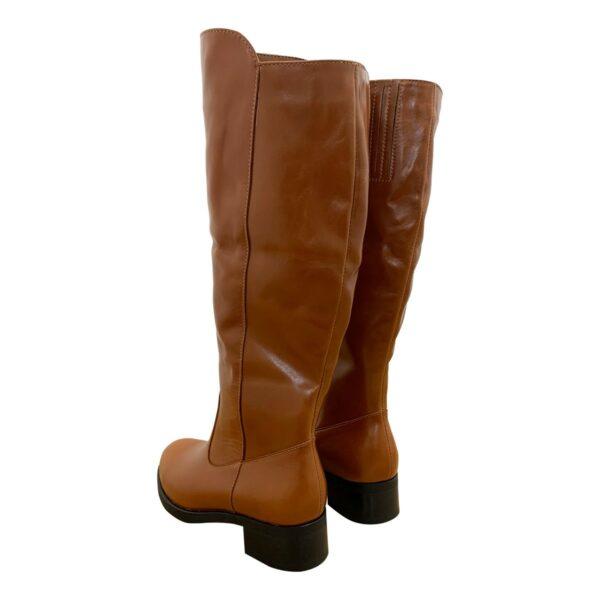Женские сапоги баталы рыжие кожаные на удобном каблуке