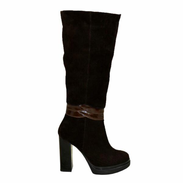Сапоги женские коричневые зимние на высоком каблуке, натуральная замша и кожа