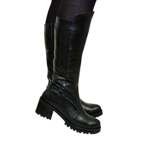 Сапоги кожаные женские на устойчивом каблуке, цвет черный
