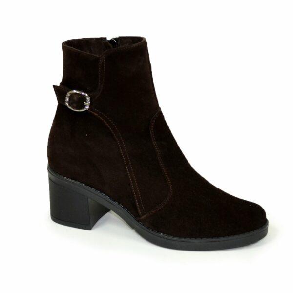 Ботинки коричневые женские замшевые демисезонные на устойчивом каблуке