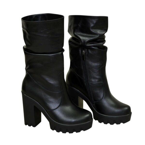 Ботинки кожаные зимние на высоком каблуке