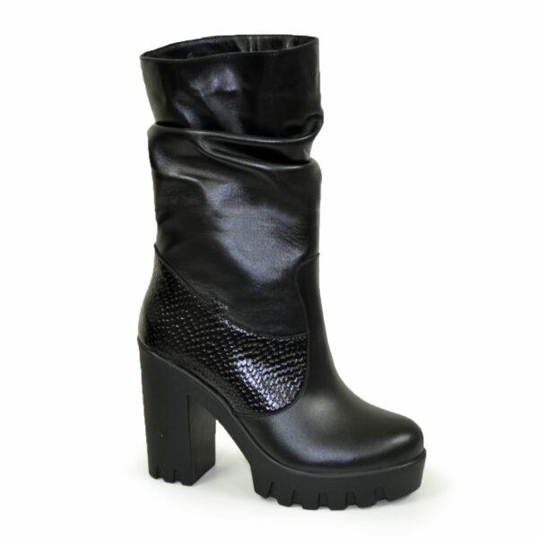 """Ботинки зимние на высоком каблуке, натуральная кожа и кожа """"питон"""""""