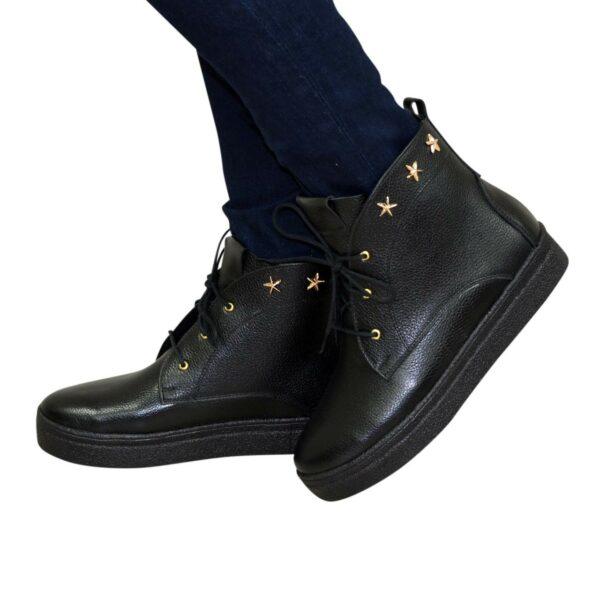 Ботинки женские демисезонные кожаные черные на утолщенной подошве