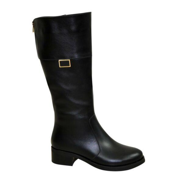 Сапоги кожаные черные женские зимние на невысоком каблуке
