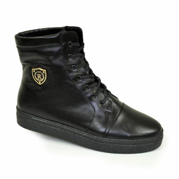 Ботинки женские зимние кожаные черные на утолщенной подошве