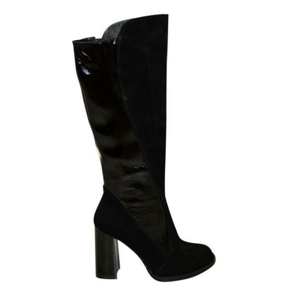 Сапоги женские зимние на высоком устойчивом каблуке, натуральная замша и лаковая кожа
