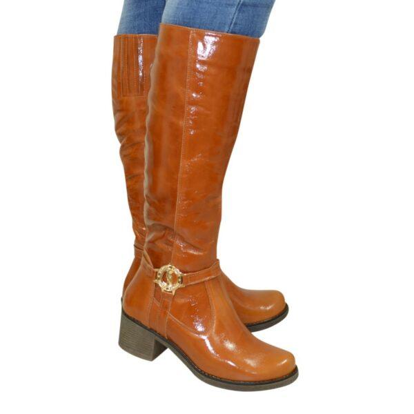 Сапоги рыжие женские демисезонные кожаные на устойчивом каблуке