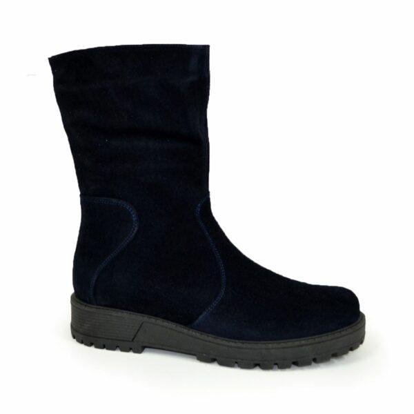 Женские замшвые синие ботинки демисезонные на утолщенной подошве