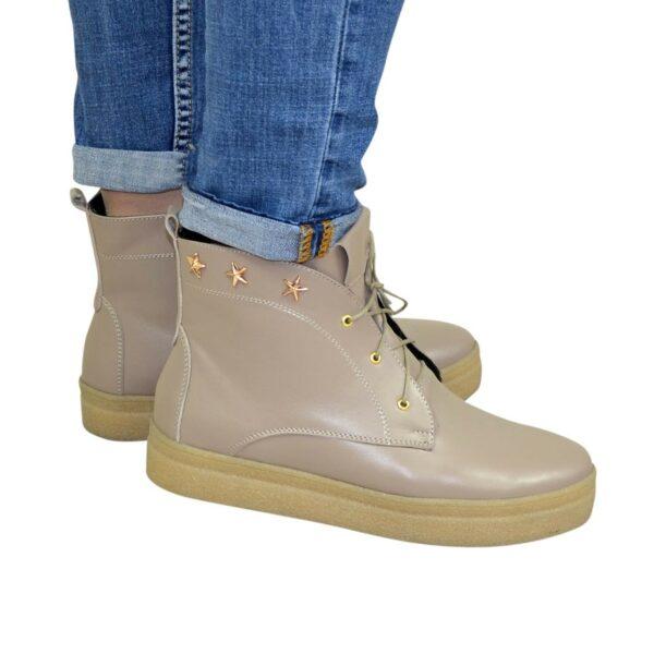 Ботинки женские демисезонные кожаные на утолщенной подошве, цвет визон
