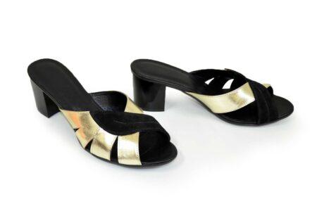Сабо женские на невысоком каблуке, натуральная кожа и замш