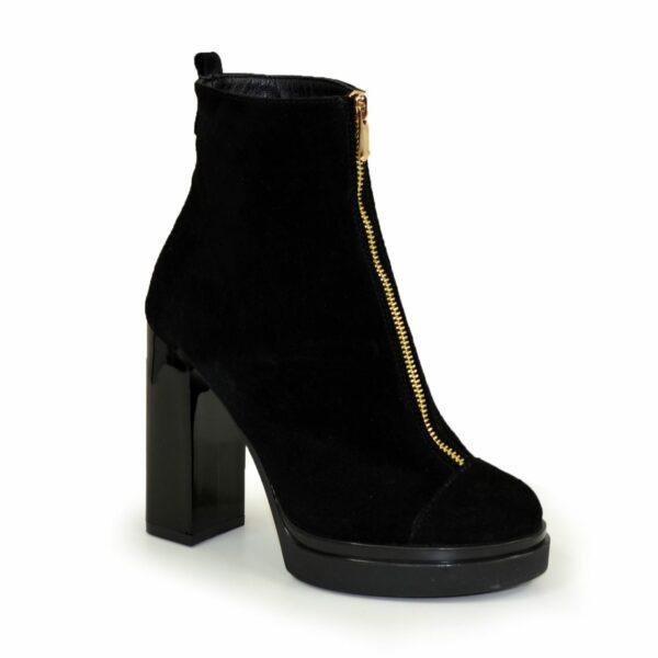 Ботинки зимние женские замшевые на устойчивом каблуке