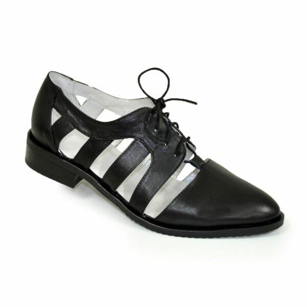 Женские кожаные открытые туфли на шнуровке