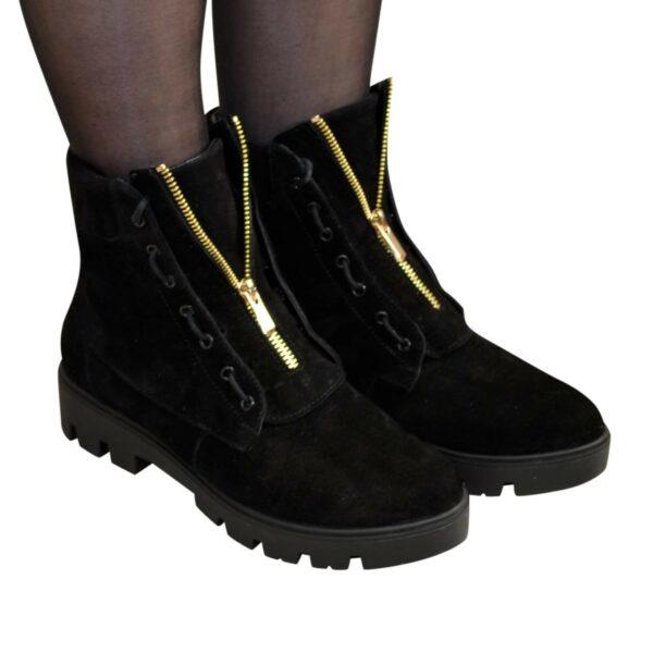 Ботинки черные женские замшевые демисезонные