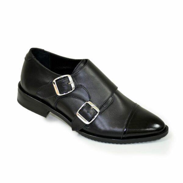 Женские черные туфли, натуральная кожа и лак