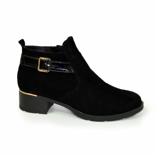 Замшевые женские зимние ботинки на устойчивом каблуке, черный цвет