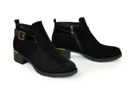 Замшевые женские демисезонные ботинки на устойчивом каблуке, черный цвет