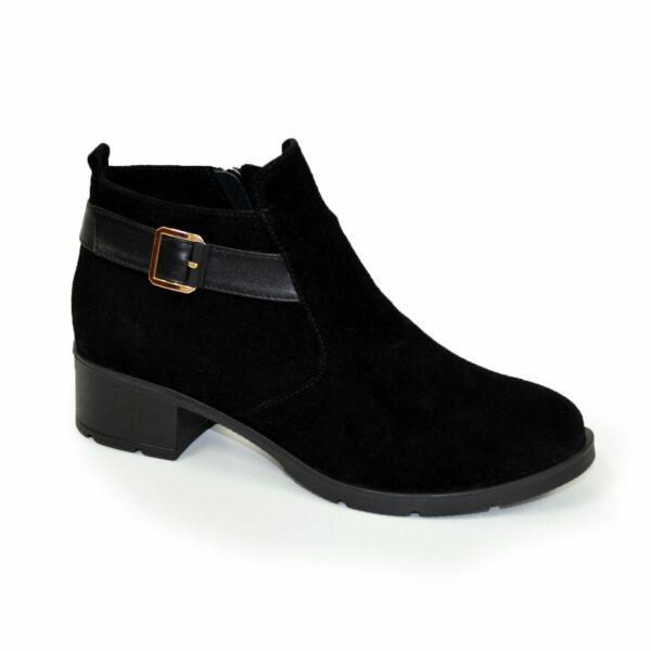 Замшевые женские зимние черные ботинки на устойчивом каблуке
