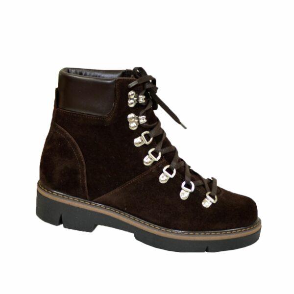 Ботинки женские зимние на низком ходу, натуральная коричневая замша