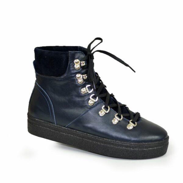 Ботинки синие женские зимние на утолщенной подошве, натуральная кожа и замша