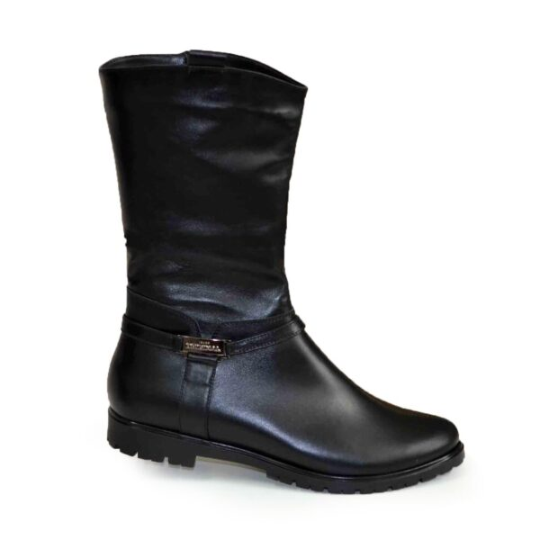Женские зимние ботинки на низком ходу, натуральная черная кожа