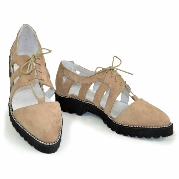 Женские открытые бежевые туфли на шнуровке, натуральная кожа нубук