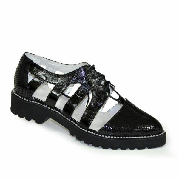 Женские открытые черные туфли на шнуровке