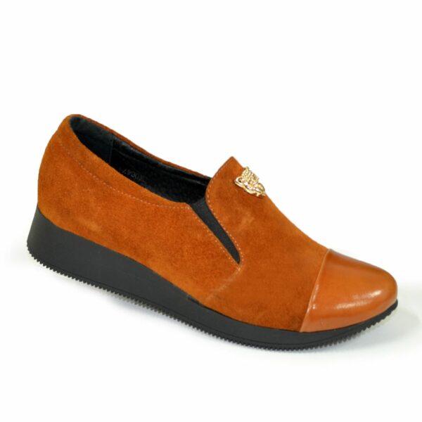 Женские рыжие туфли на утолщенной подошве