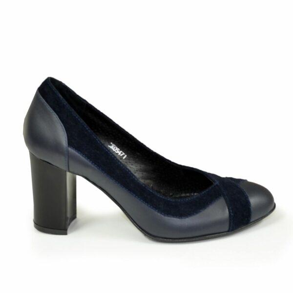 Туфли синие женские классические на каблуке, натуральная кожа и замш