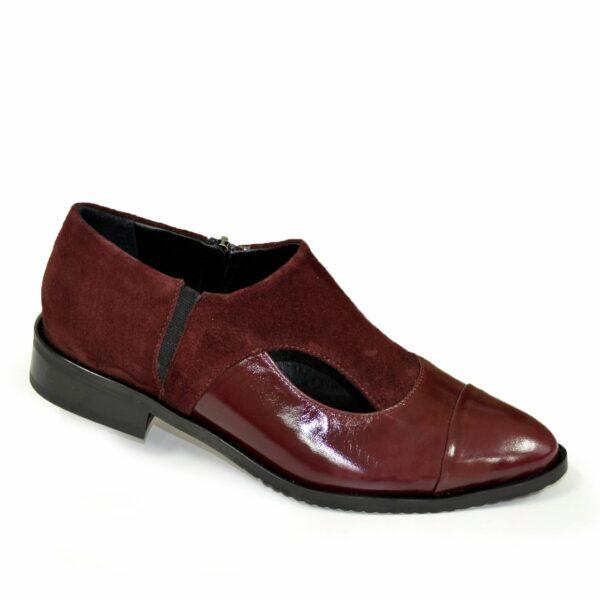 Женские бордовые туфли с острым носком на низком ходу, натуральная кожа и замша